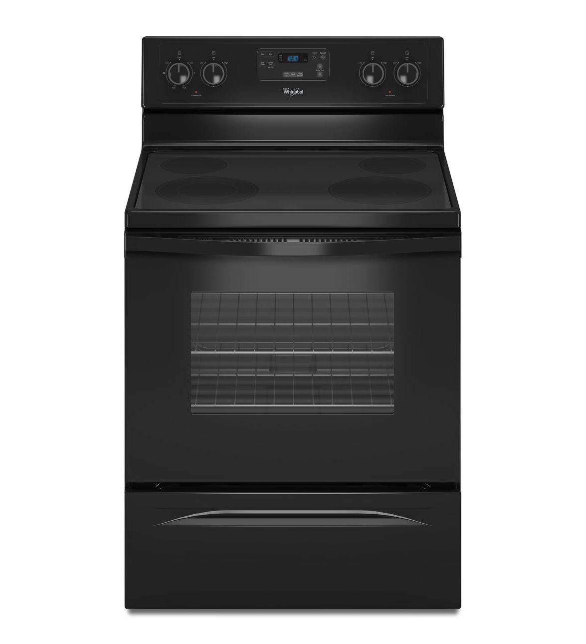 Wfe515s0eb Whirlpool 30 5 3 Cu Ft Glass Top Electric Range Black