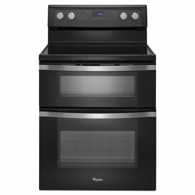 Wge755c0be Whirlpool 30 Electric Gltop Double Oven Range Black Ice